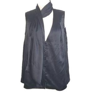 Aje Black Sleeveless Silk Scarf Top Size 8